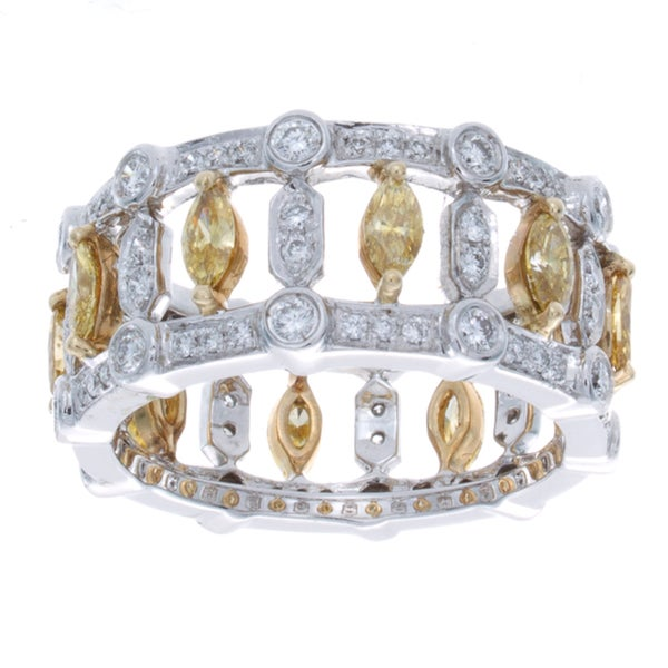 14k Gold 1 5/8ct TDW White and Yellow Diamond Pave Band (I-J, I1-I2)