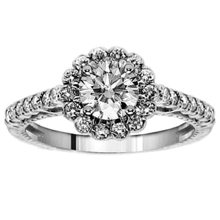 14k/18k Gold or Platinum 1 3/8ct TDW Diamond Halo Engagement Ring (F-G, SI1-SI2)