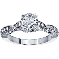 14k White Gold 1 1/2ct TDW Round-cut Diamond Engagement Ring (F-G, SI1-SI2)
