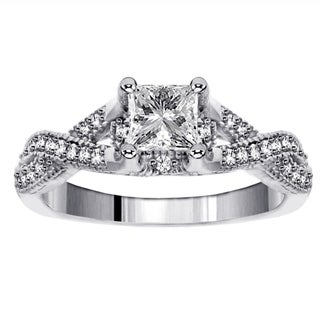 14k White Gold 1ct TDW Princess-cut Diamond Engagement Ring (F-G, SI1-SI2)