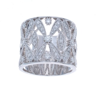 14k White Gold 7/8ct TDW Diamond Vintage Design Ring (I-J, I1-I2)