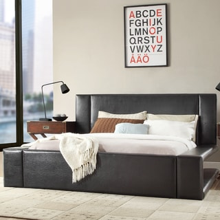 Anabella Black Bonded Leather King-size Bed