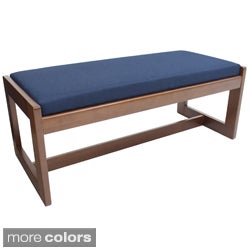 Double Seat Wood/Fabric Bench