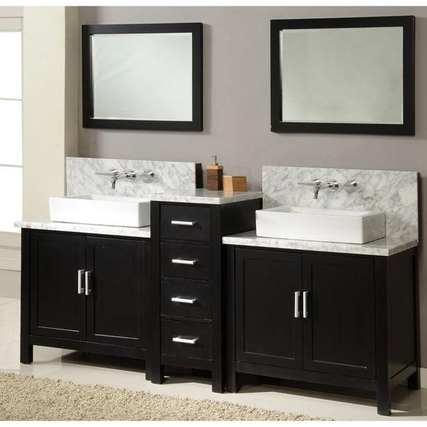 Direct Vanity Four Inch Horizon Ebony Double Vanity Sink