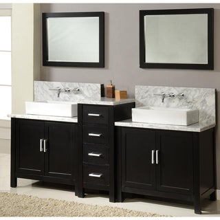 Horizon 84-inch Ebony and Marble Double Vanity Sink Console