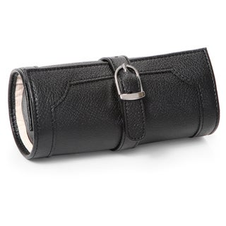 Morelle Olivia Belted Black Leatherette Jewelry Roll
