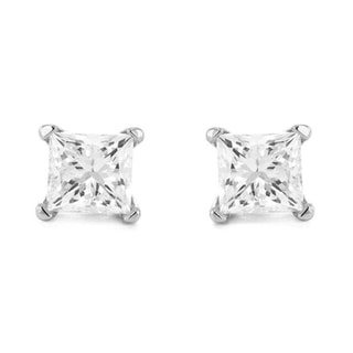 14k White Gold 1/2ct TDW Princess-cut Diamond Stud Earrings (I-J, I2)