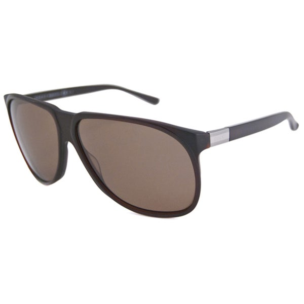 Gucci Men's GG1002 Polarized Brown Aviator Sunglasses