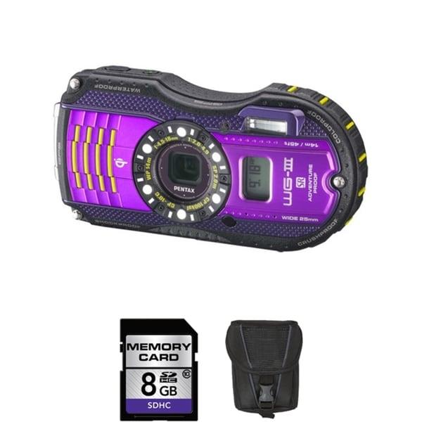Pentax WG-3 Waterproof 16MP Purple Digital Camera 8GB Bundle