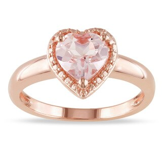 Miadora Rose-plated Silver Morganite Heart Ring