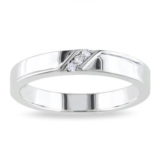 Miadora Sterling Silver Men's Diamond Accent Wedding Band
