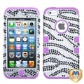 BasAcc Zebra Diamante/ Purple TUFF Hybrid Case for Apple iPhone 5