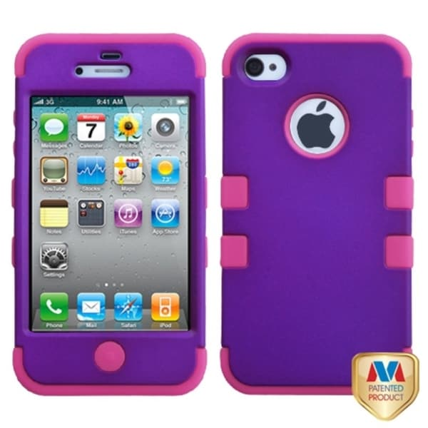 INSTEN Grape/ Hot Pink TUFF Hybrid Phone Case Cover for Apple iPhone 4/ 4S