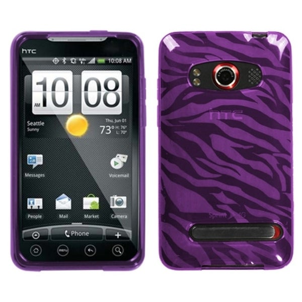 INSTEN Purple Zebra Phone Case Cover for HTC EVO 4G