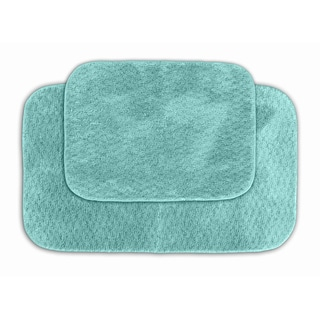 Somette Enliven Textured Seafoam Bath Rug 2-piece Set