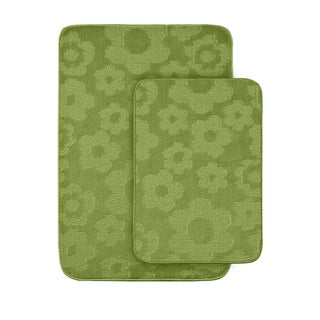 Petal Lime Green 2-piece Bath Rug Set