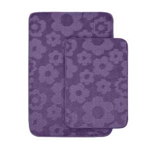 Petals Purple Bath Rugs (Set of 2)