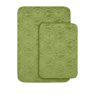 Peace, Love & Lime Bath Rug Set of 2
