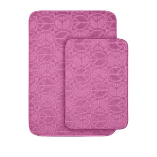 Peace, Love & Pink Bath Rug Set of 2