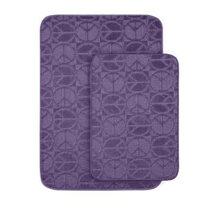Peace, Love & Purple Bath Rug Set of 2