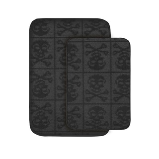 Jolly Roger Black 2-piece Bath Rug Set