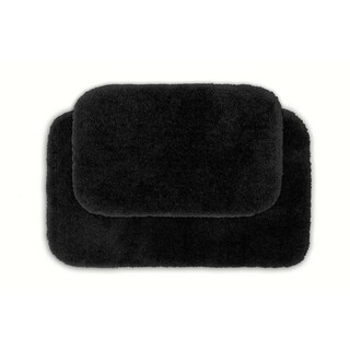 Posh Plush Onyx Washable 2-piece Bath Rug Set