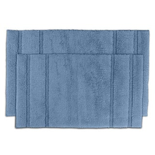 Tranquility Cotton Sky Blue Bath Rug Set of 2