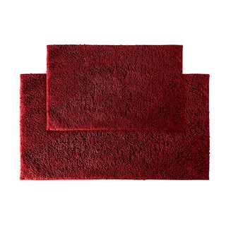 Grace Chili Pepper Red Cotton 2-piece Bath Rug Set