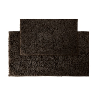 Grace Chocolate Cotton Bath Rug Set of 2