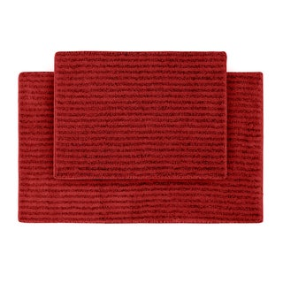 Xavier Stripe Chili Pepper Red 2-piece Bath Rug Set