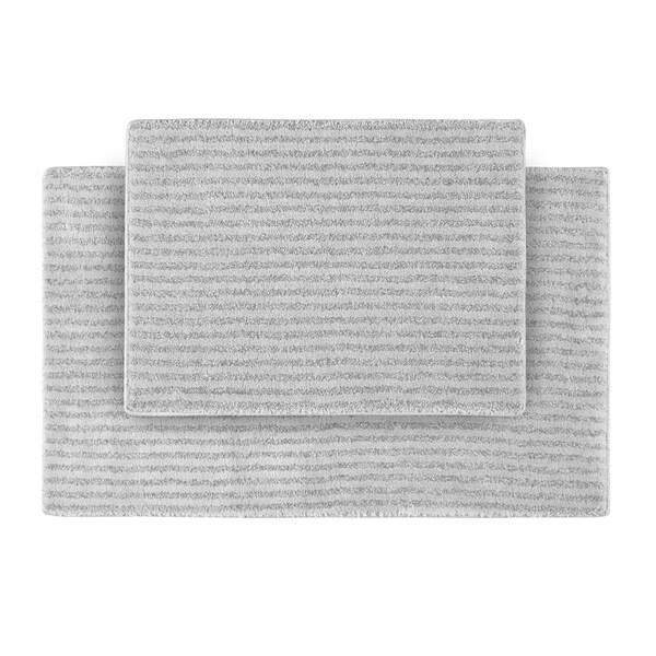 Somette Xavier Stripe Platinum Grey Bath Rugs (2 pc)