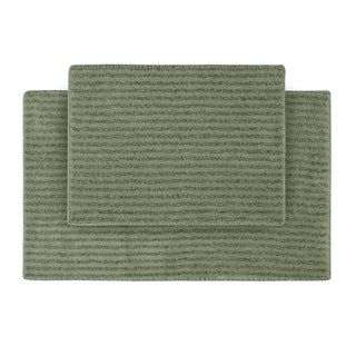Somette Xavier Stripe Deep Fern Bath Rugs (Set of 2)
