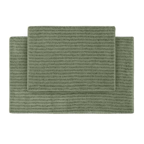 Somette Xavier Stripe Deep Fern Bath Rugs (Set of 2)