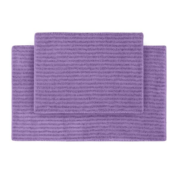 Somette Xavier Stripe Amethyst Bath Rugs (Set of 2)