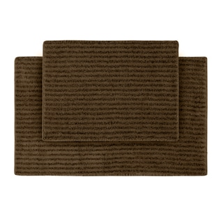 Xavier Stripe Chocolate 2-piece Bath Rug Set