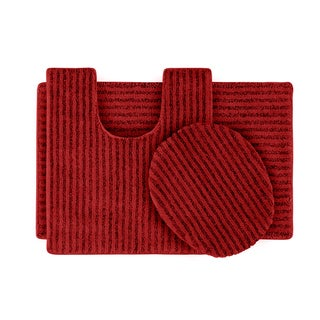 Xavier Stripe Chili Pepper Red 3-piece Bath Rug Set