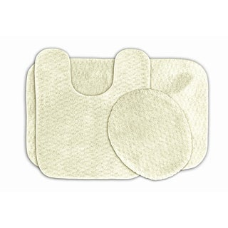Enliven Ivory Textured 3--piece Bath Rug Set