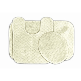 Enliven Ivory Textured Bath Rugs (Set of 3)