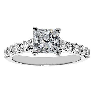 14k White Gold 2ct TDW Clarity Enhanced Princess Diamond Engagement Ring (F-G, SI1-SI2)