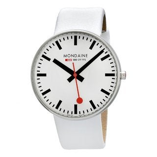Mondaine Men's Giant White Leather Band Watch