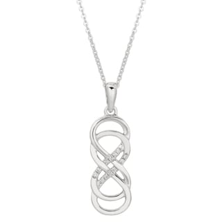 Sterling Silver Diamond Accent Double Infinity Necklace