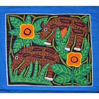 'Agutis Grazing' Mola Textile Art (Panama)