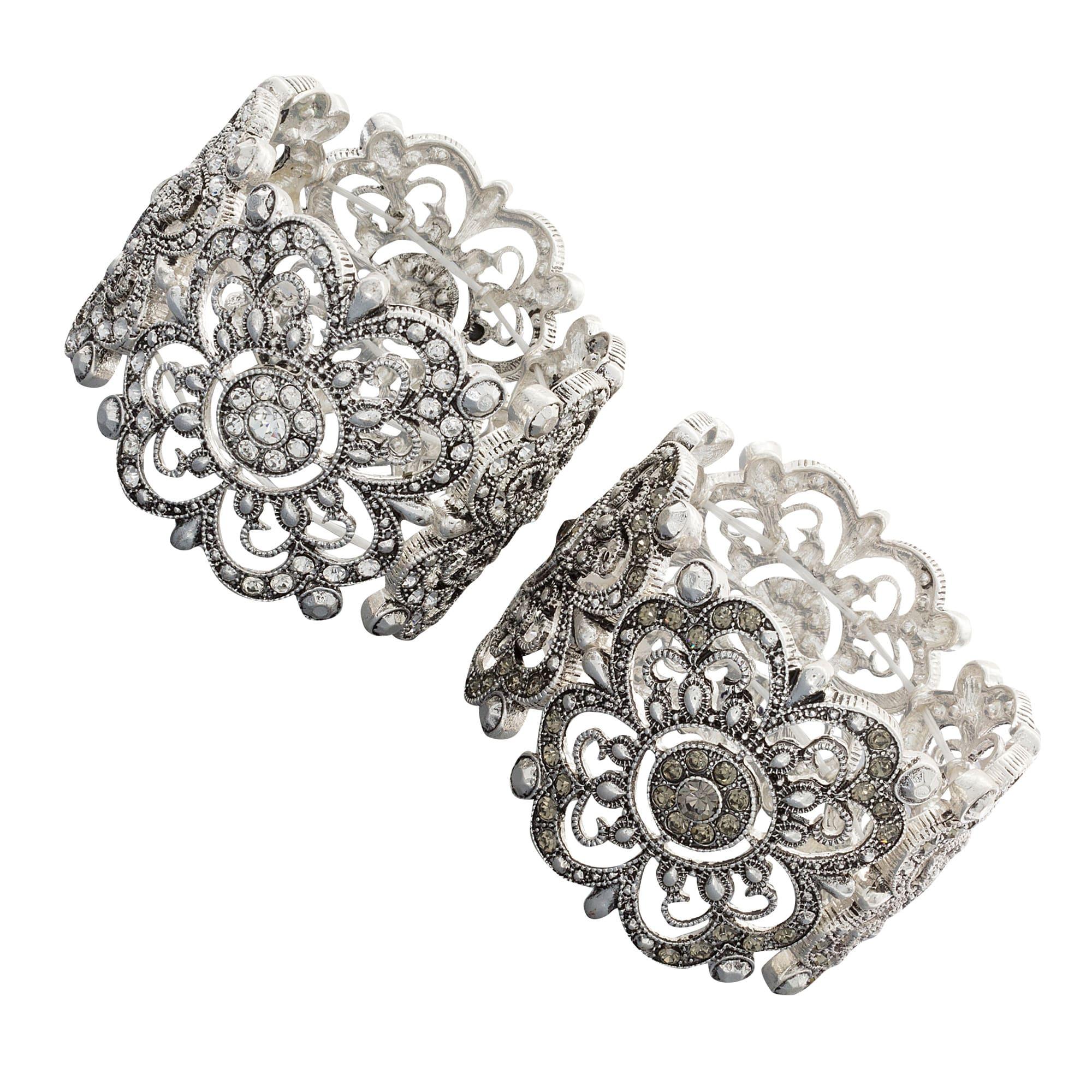NEXTE Jewelry Silvertone White or Grey Rhinestone Art Deco Vintage-style Bracelet
