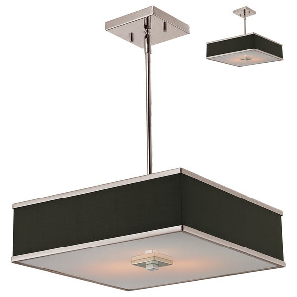 Rego 3-light Nickel Pendant with Chocolate Fabric Shade