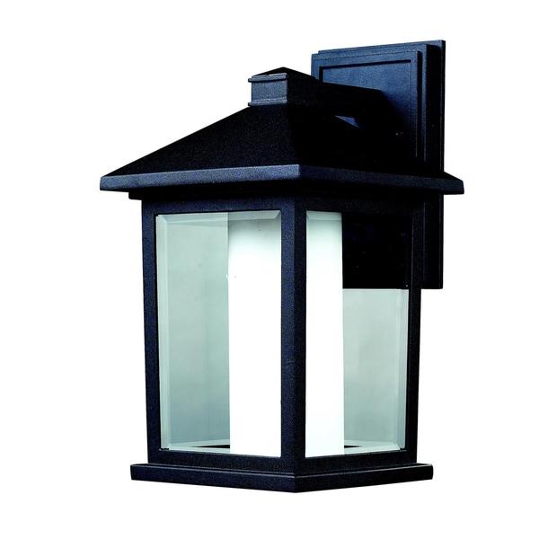 Mesa Black/ Clear Outdoor Wall Light