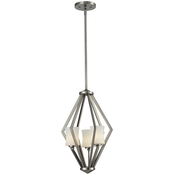 Elite 3-Light Brushed Nickel Cage Pendant