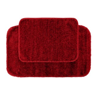Plush Deluxe Chili Pepper Red Washable 2-piece Bath Rug Set