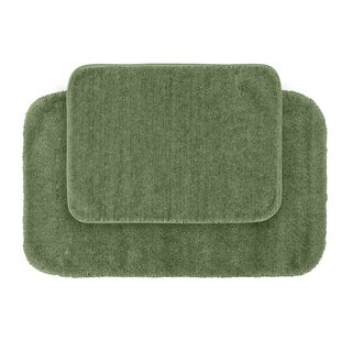 Plush Deluxe Laurel Green Bath Rugs (Set of 2)