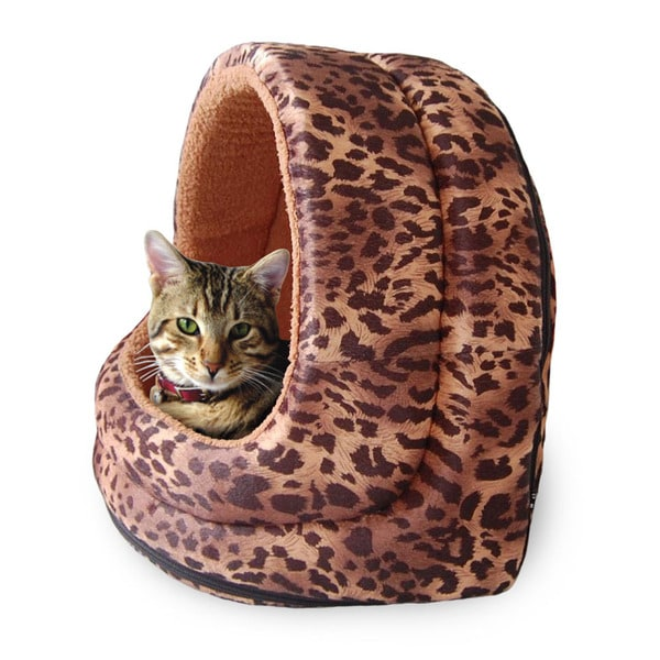 PAW Furry Leopard Print Canopy Pet Bed Cave for Cats