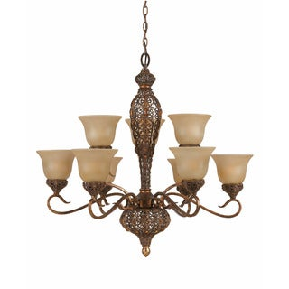 Crown Jewell Antique Gold Leaf 9-light Chandelier